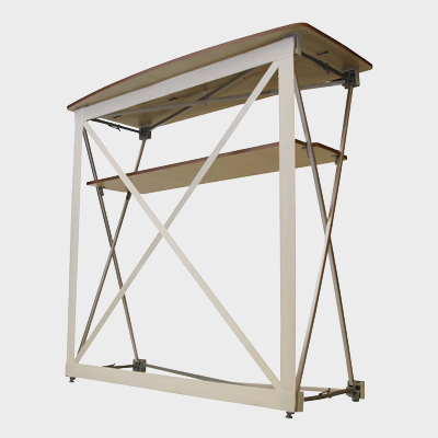 Structure comptoir d'accueil textile beige pas cher